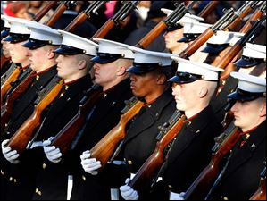Members of the Marine Corps march in President Barack Obama's inaugural parade.