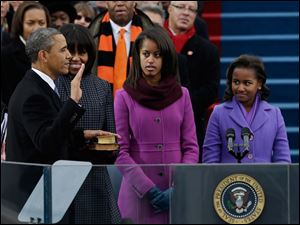 President Barack Obama's family watches during the ceremonial swearing-in.