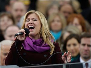 Singer Kelly Clarkson performs at the ceremonial swearing-in for President Barack Obama at the U.S. Capitol.