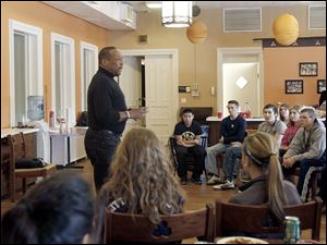 "Former UT/Canadian Football League star Chuck Ealey spoke about his ""Undefeated Spirit""  to Youth Leadership Toledo participants at Trinity Episcopal Church."