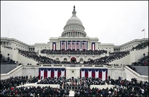 The weather was cloudy and windy as about 500,000 to 800,000 people strained to see President Obama on the West Front of the U.S. Capitol during the 57th Presidential Inauguration.