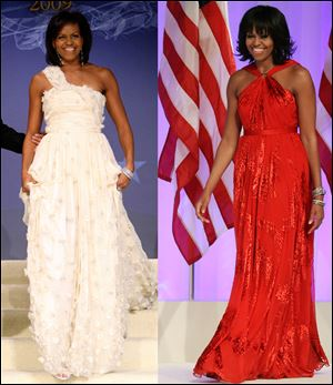 First lady Michelle Obama as she arrives at the Inaugural Ball in Washington on Jan. 21, 2009, left, and Jan. 21, 2013, right. Mrs. Obama made it a fashion tradition Monday night, wearing a custom-made Jason Wu gown to the inaugural balls.