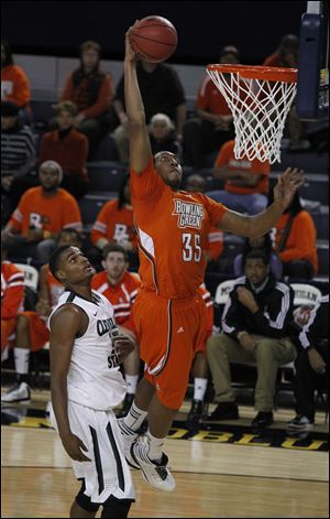 BGSU's Cameron Black (35) shares similar numbers with fellow big man Richaun Holmes, including their minutes per game as Black averages 19.8 and Holmes 18.3. Holmes averages 5.3 points and 4.8 rebounds per game, while Black contributes 3.4 points and 3.8 rebounds.