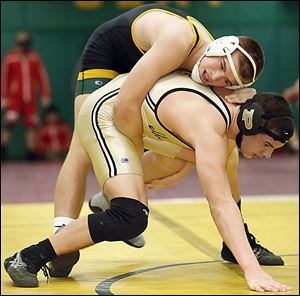 Clay freshman Matt Stencel controls Perrysburg's Kadin Llewellyn to win the 182-pound final at the Maumee Bay Classic. Stencel  is 20-5 this year.