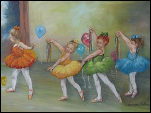 """Pirouette"" oil on canvas by Maureen DeRonge, part of the special music art and literature exhibit called Music Mania at the Way Library in Perrysburg."