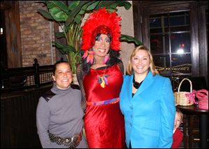 Kim Kearns, female impersonator London Asia, Clare Gorski at theToledo Opera celebrity wait night.