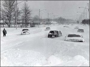 Heatherdowns Boulevard on Jan. 27, 1978 after the Blizzard of 1978.
