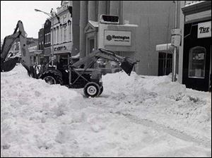 Clearing away the snow on South Main Street downtown  after the Blizzard of 1978.