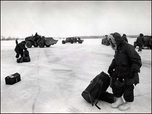 Troops arrive during the Blizzard of 1978.
