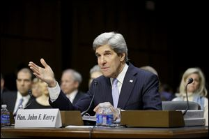 Senate Foreign Relations Chairman Sen. John Kerry, D-Mass., testifies on Capitol Hill in Washington.