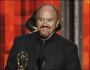 "Louis C.K. bested Comedy Central's Stephen Colbert, who plays a conservative political pundit on his satirical show ""The Colbert Report"" for the top spot on the list ranking the 50 funniest comedians working in the United States."