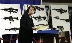 Sen. Dianne Feinstein, (D., Calif.) speaks during a news conference on Capitol Hill to introduce legislation on assault weapons and high-capacity ammunition feeding devices.