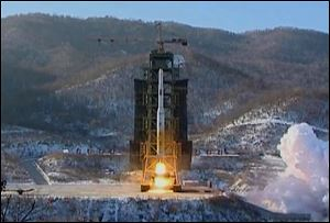 File image of North Korea's Unha-3 rocket lifts off from the Sohae launching station in Tongchang-ri, North Korea.