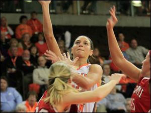 BGSU's #21, Chrissy Steffen shooting over MU's #32, Hannah Robertson.  Bowling Green State University's women's basketball team hosts the team from Miami University in Bowling Green, Ohio on January 24, 2013.