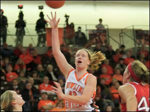 BGSU's #42, Danielle Havel in the first period.  Bowling Green State University's women's basketball team hosts the team from Miami University in Bowling Green, Ohio on January 24, 2013. The Blade/Jetta Fraser