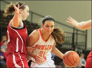MU's #10, Courtney Osborn, defending BGSU's #21, Chrissy Steffen, in the second half.  Bowling Green State University's women's basketball team hosts the team from Miami University in Bowling Green, Ohio.