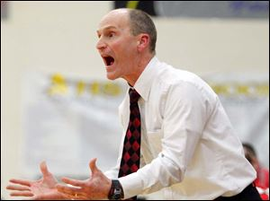 Wauseon head coach Brad Myers shouts instructions during a basketball game against Archbold Thursday.