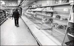 The selection of bread and baked goods was slim at the former Josephs' supermarket on Talmadge Road.