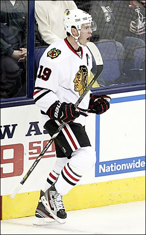 The Blackhawks' Jonathan Toews celebrates what would be the game-winning goal against Columbus in the third period.