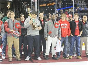 Central Catholic's championship football team was honored before the game.