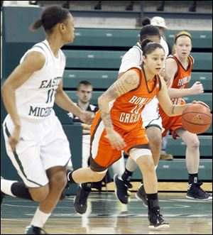 Katrina Salinas heads downcourt. Bowling Green built a double-digit lead on Eastern Michigan and never relented control.