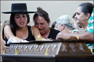 Relatives weep next to a coffin. The bodies of the victims of Sunday's fire were taken to a gym to await identification.