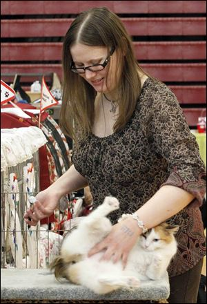 Lorna Friemoth, an Ottawa, Ohio, native who lives in Columbus, tickles her Japanese bobtail before showing her  during the Cat Fanciers' Association show in Monroe County.