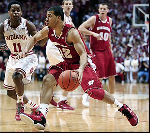 Wisconsin guard Traevon Jackson, son of  Jim Jackson who played at Macomber and Ohio State, averages 5.8 points per game.