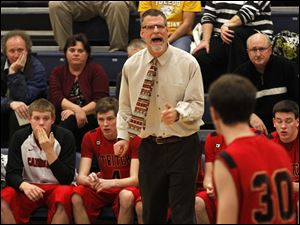Cardinal Stritch head coach David Rieker yells at his players.