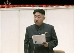North Korean leader Kim Jong Un delivers opening remarks at the Fourth Meeting of Secretaries of Cells of the Workers' Party of Korea, in Pyongyang, North Korea Monday.