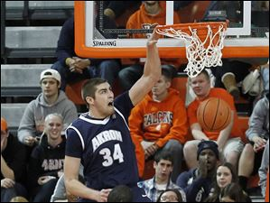 Akron's Pat Forsythe dunks in front of BGSU's Cameron Black and Luke Kraus.