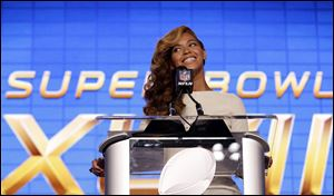 Beyoncé speaks during a news conference Thursday in New Orleans.