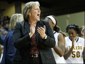 Toledo head coach Tricia Cullop likes what she sees as her team dismantles Ohio University during the second half.