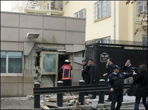 Gate 2 of the embassy just after a suicide bomber detonated an explosive device at the entrance of the U.S. Embassy in the Turkish capital, Ankara, Turkey today.