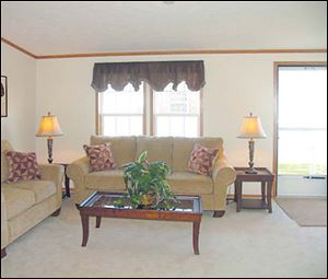 The inviting living room is an ideal place to entertain visitors.