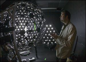 University of Southern California Institute for Creative Technologies, associate director for graphics research, Paul Debevec, explains the Lighting Stage X, a LED-filled sphere used to help create realistic virtual characters at the Graphics Lab in Playa Vista area of Los Angeles.