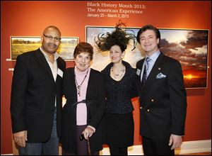 From left, Aaron Bivins, Peggy Grant, Condessa Croninger and Eric Hillenbrand at the Black History Month exhibit at 20 North Gallery.
