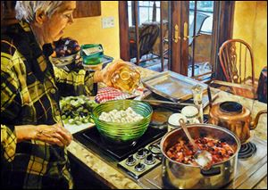 Jessica Summers, Cooking in Pajamas: Portrait of My Mother. Oil on canvas. 94th Toledo Area Artists Exhibition at the Toledo Museum of Art.