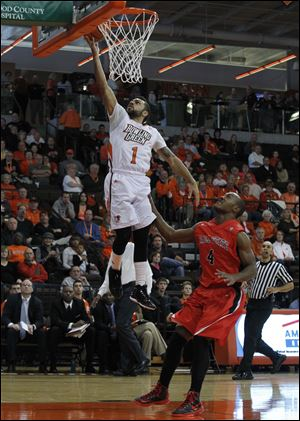 BGSU's Jordon Crawford steals the ball and lays it in for two.
