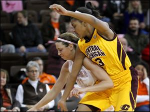 BG's Chrissy Steffen, left, drives inside against Central Michigan player Jessica Green.