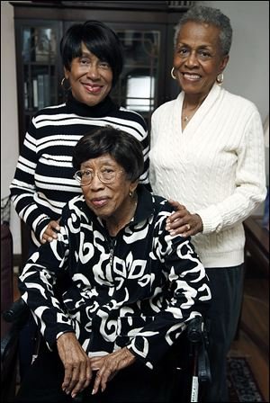Aleathia Carson, who turned 100 on Jan. 31, is beloved by her daughters  Janice Carson, left, and Peggy Coleman, right.