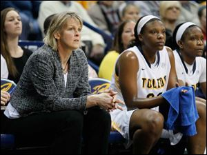 University of Toledo women's associate head basketball coach Vicki Hall watches from the bench during the Rockets' game against Western Michigan.