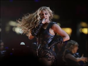 Beyonce performs during the halftime show of  the NFL Super Bowl XLVII football game between the San Francisco 49ers and the Baltimore Ravens Sunday in New Orleans.