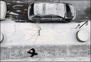 A man walks along a St. Clair Street sidewalk in downtown Toledo today shows some of the