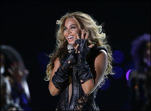 Beyonce performs 'Single Ladies (Put A Ring On It)' during the Super Bowl halftime show Sunday in New Orleans.