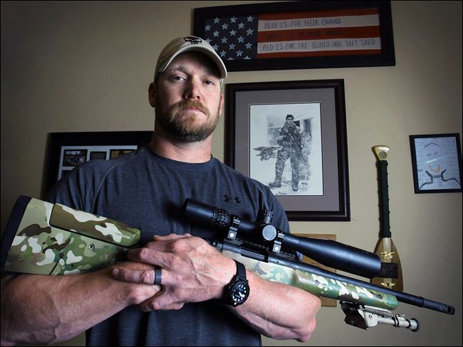 Sniper Author Shooting 2-4 sniper Former Navy SEAL and author of the book 'American Sniper,' Chris Kyle poses in Midlothian, Texas, in 2012. He was found dead at a shooting range on Saturday.