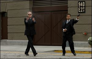 "This film image released by Roadside Attractions shows, Christopher Walken as Doc, left, and Al Pacino as Val, in a scene from ""Stand Up Guys."""
