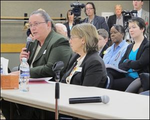 Rep. Sue Wallis, R-Recluse, speaks in favor of bills that would authorize gay marriage and same-sex domestic partnerships in Wyoming while the bills' sponsor, Rep. Cathy Connolly, D-Laramie, listens last month.