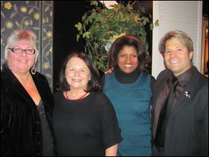 Fair Housing reception at Gerogio's: Kathy Broka, retired President and CEO, Toledo Fair Housing; Shanna Smith, President and CEO of National Fair Housing Alliance in DC; Lisa Rice, VP of National Fair Housing Alliance in DC; and Michael Marsh, new President and CEO, Toledo Fair Housing.