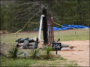This photo shows the pipe FBI agents and Dale County negotiators used to communicate with Jimmy Lee Dykes while he held a 5-year-old boy hostage in a bunker on his Midland City, Ala. property for a week.